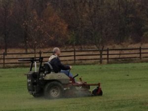 Volunteer Kevin Mowing at Fetch Dog Park In Danville, Illinois