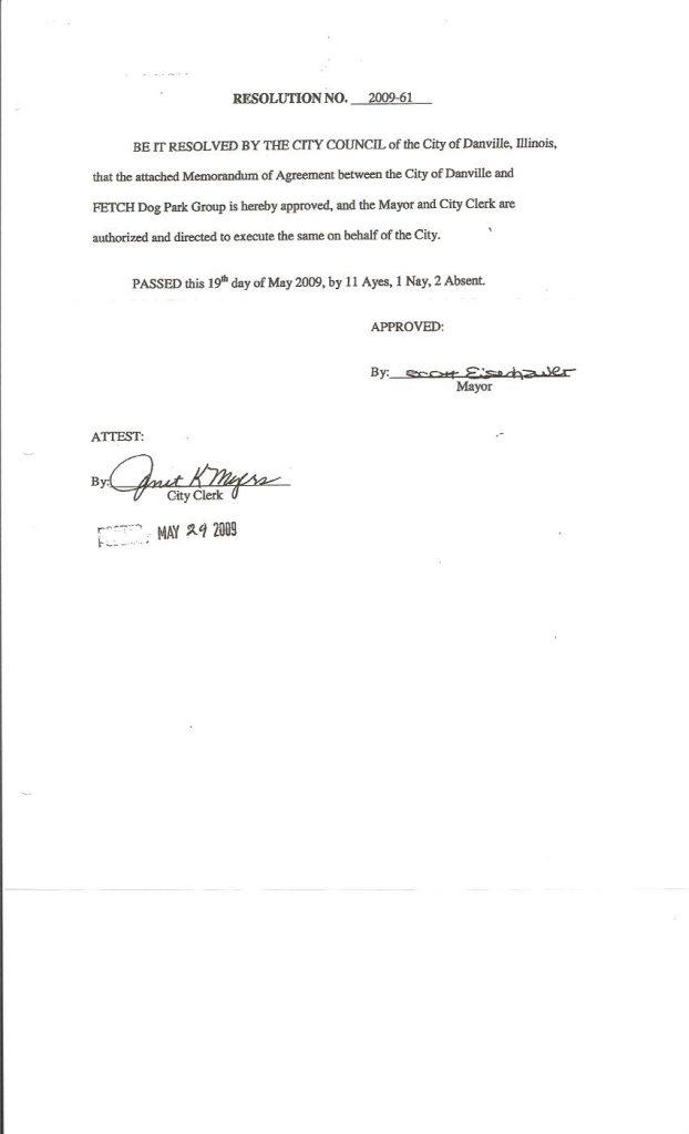 Memorandum Of Agreement City Of Danville Fetch Dog Park
